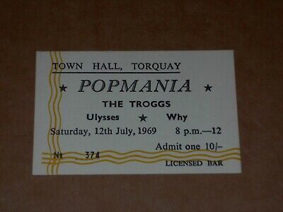 Troggs 1969 Concert Ticket (Ulysses/Why) • 10£