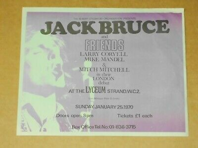 Jack Bruce (Cream) & Friends 1970 UK Lyceum, Strand Concert Flyer • 75£