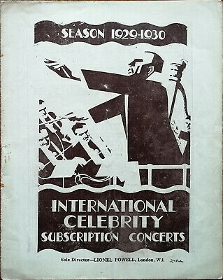 International Celebrity Subscription Concerts 1929-1930 Programme, Lionel Powell • 9.99£