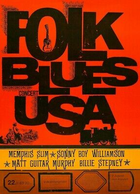 Folk Blues USA POSTER 1963 Concert Rare Memphis Slim • 11.07£