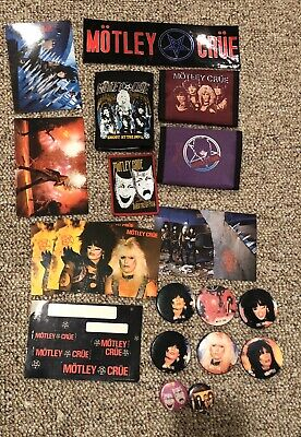 Motley Crue Vintage Postcards,Buttons, Wallets,Patch And Bumper Sticker • 27.64£