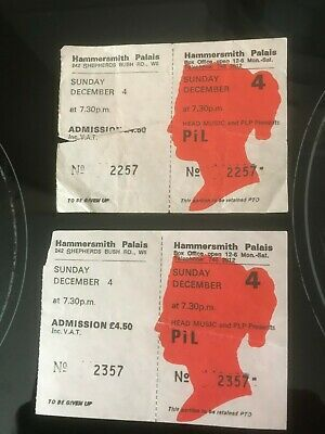 Original Tickets From Public Image Live At The Hammersmith Palais 1983 • 3.99£