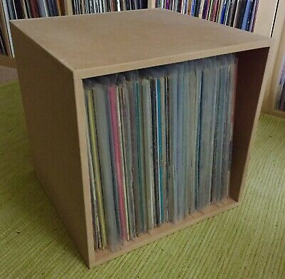 Record Box For Vinyl LPs + 12 S -Fully Built Storage -Holds 100 - Stackable Cube • 22£