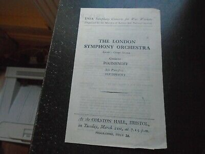 C1950 ENSA Symphony Concerts For War Workers, Colston Hall, Bristol • 9£