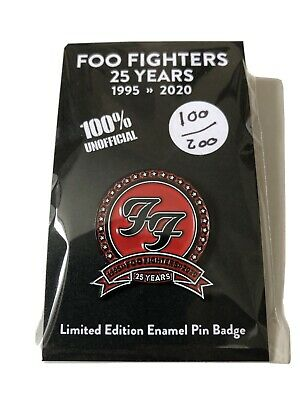 FOO FIGHTERS LIMITED EDITION NUMBERED 25th ANNIVERSARY ENAMEL PIN BADGE - RARE • 8£
