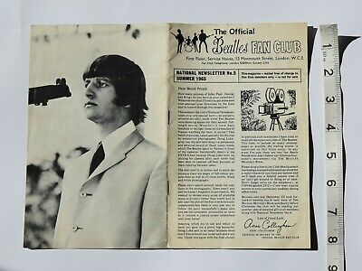 The Beatles Official Fan Club National Newsletter # 5 Summer 1965 Help! 12 Pages • 6.99£
