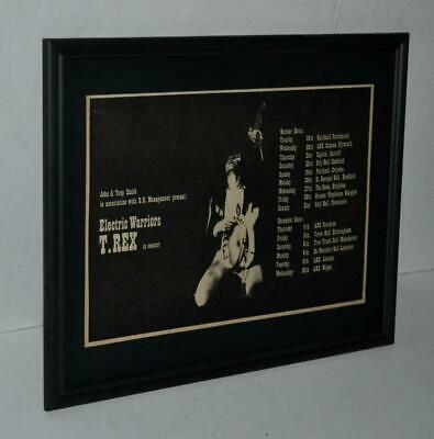 T Rex 1971 Marc Bolan Electric Warriors Concerts Glam Rock  Framed Promo  Ad • 18.75£