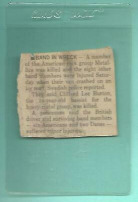 MUSIC Took A Hit:  Cliff Burton ( Metallica ) Sep 28th 1986 Newspaper Clipping  • 4.13£
