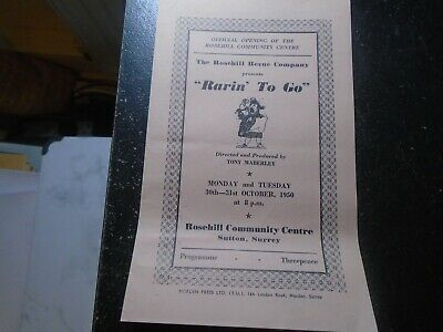 1950 Rosehill Community Centre, Sutton, Les Tomkins, Official Opening, Jazz • 5£