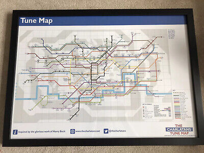 The Charlatans TUNE MAP [London Underground Style Map!] Professionally Framed • 45£
