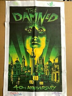 The Damned 40th Anniversary Royal Albert Hall Tea Towel Limited Edition SIGNED • 50£