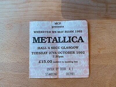 Metallica - 1992 - SECC Glasgow Ticket - Memorabilia Music Rare - Vintage - MCP • 3.20£
