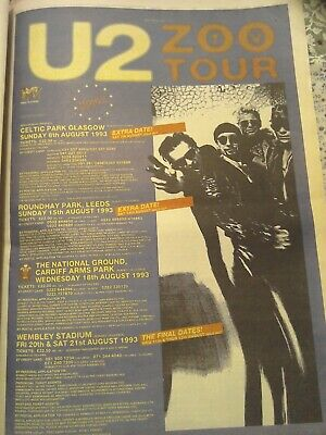 U2 Zoo Tour Music Press Advertisement 1992 Memorabilia Original • 0.99£