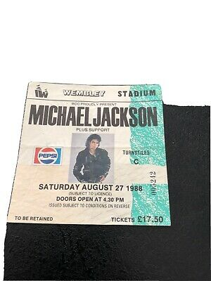 Michael Jackson 1988 BAD Tour Ticket RARE STUB Original@ Wembley Stadium • 10£