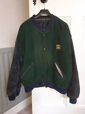 REM Warnerwear Official 1991 Issue Jacket In Suede/nylon/wool In Green/blue • 20£