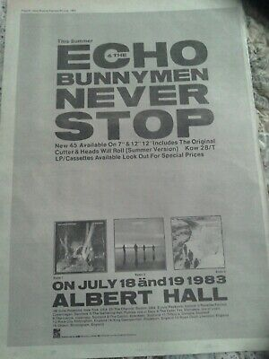 Echo And The Bunnymen Tour/single Release Original Advert 1983 Never Stop • 1.50£