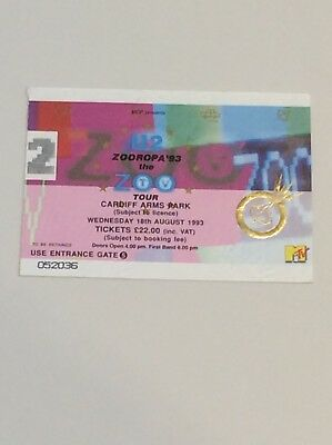 U2 Zooropa Ticket 1993 Cardiff Arms Park • 15£