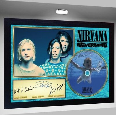 Nirvana Dave Grohl Kurt Cobain Krist SIGNED FRAMED PHOTO CD Disc Perfect Gift  • 19.99£