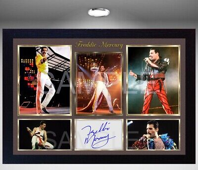 NEW Freddie Mercury Queen Framed Photo REPRINT Reprint POSTER Signed • 19.99£
