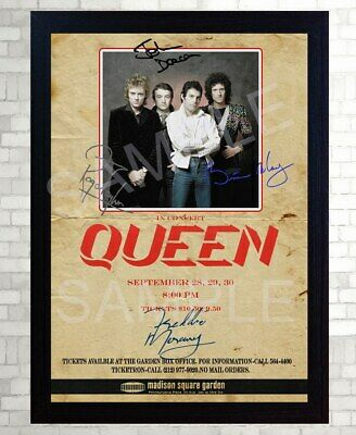QUEEN Freddie Mercury Poster Vintage SIGNED Framed Photo PRINT Reprint POSTER • 19.99£