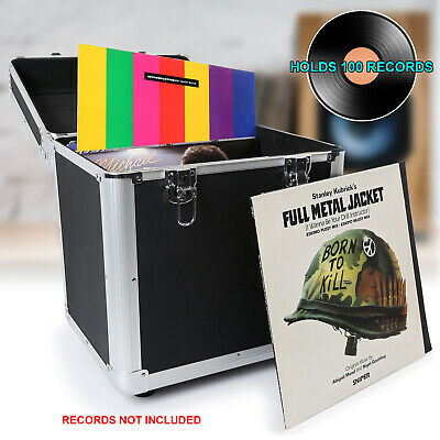 100 X 12  LP Vinyl Record Case DJ Album Carry Storage Box Flightcase Black • 34.99£