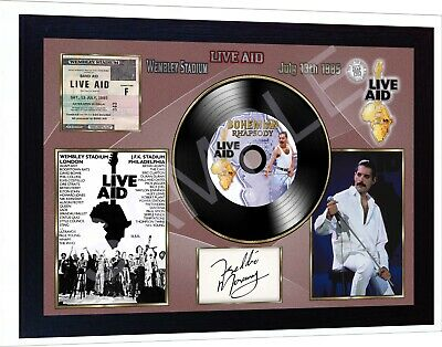 Freddie Mercury Queen Wembley  MUSIC  SIGNED FRAMED PHOTO LP Vinyl Great Gift • 18.99£