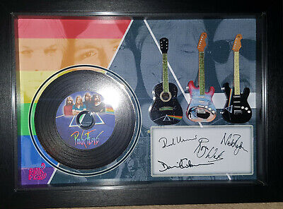 Pink Floyd The Dark Side 3 Miniature Guitar And Mini LP Shadow Box Signed Print • 34.99£