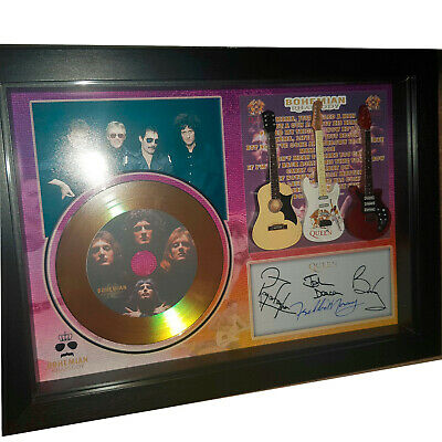 QUEEN Freddie Mercury 3 Miniature Guitar And Mini Gold LP Shadowbox Signed Print • 34.99£