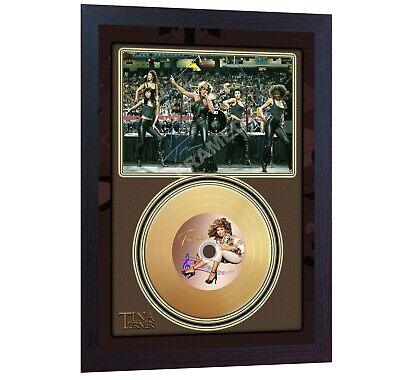 New! Tina Turner Mini Gold Vinyl CD Record Signed Autographed Framed  • 19.99£