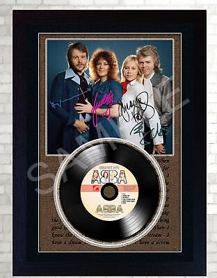 Abba MUSIC  SIGNED FRAMED PHOTO LP Vinyl  Perfect Gift #5 • 18.99£