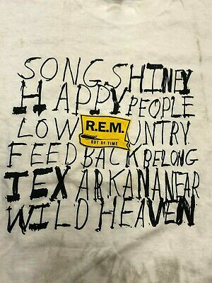 Vintage T Shirt - R.E.M Out Of Time LEE L White Yellow Black Wild Heaven New NOS • 158.77£