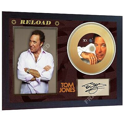NEW!! Tom Jones Sex Bomb Reload  Mini Gold Vinyl CD Record Signed Framed Print • 19.99£