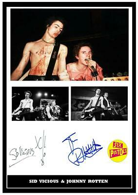 (#194) Sid Vicious & Johnny Rotten Signed A4 Photo//framed (reprint) Great Gift • 14.99£