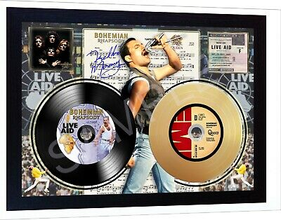 Freddie Mercury Queen Wemble Mini LP And Mini Gold LP Viny Record Signed Framed  • 20.99£