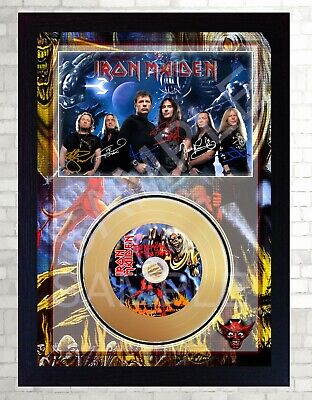 NEW! Iron Maiden The Number Of The Beast Mini Gold Vinyl Record Signed Framed  • 19.99£
