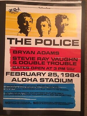The Police 1984 Original Vintage Hawaii Concert Poster W/stevie Ray Vaughan Rare • 333.37£