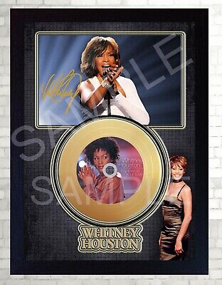 NEW! Whitney Houston My Love Mini Gold Vinyl CD Record Signed Framed Photo Print • 19.99£