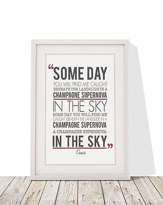 In The Sky Oasis Champagne Supernova Song Lyrics A4 Framed With Mount 12 X 10  • 14.99£