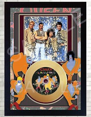 Queen A Kind Of Magic Freddie Mercur Mini Gold Vinyl Record Signed Framed Print  • 19.99£