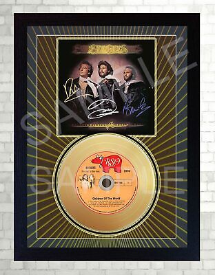 Bee GEES Children Of The World  Mini Gold Vinyl CD Record Signed Framed Print • 19.99£