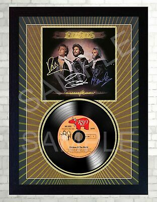 Bee GEES Children Of The World MUSIC  SIGNED FRAMED PHOTO LP Vinyl Perfect Gift • 18.99£