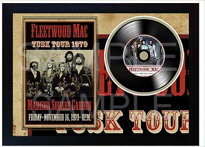 NEW! Fleetwood Mac Tusk Tour MUSIC  SIGNED FRAMED PHOTO LP Vinyl  • 19.99£