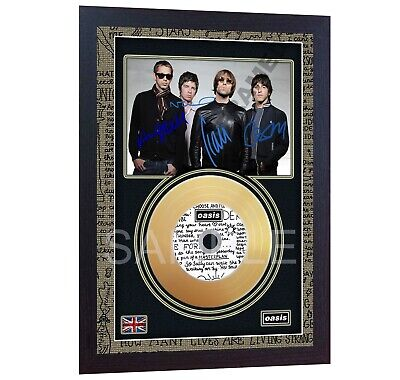 NEW Oasis Mini Gold Vinyl Record Signed  Framed Photo Print Perfect Gift • 19.99£