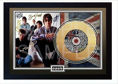 NEW Oasis Mini Gold Vinyl Record Signed Framed Photo Print Perfect Gift #3 • 19.99£