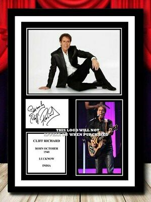 (#373) Cliff Richard Signed A4 Photo/framed/unframed (reprint) Great Gift @@@@@@ • 14.99£
