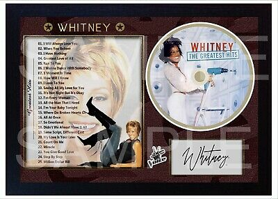 Whitney Houston The Greatest Hits SIGNED Print DISPLAY AND CD DISC • 19.99£