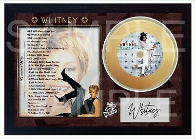 NEW! Whitney Houston The Greatest Hits Mini Gold Vinyl Signed Framed Photo Print • 19.99£