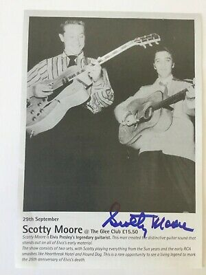 SCOTTY MOORE Autograph Signed Flyer The Glee Club Birmingham  Sept 29th 2002 • 39.99£