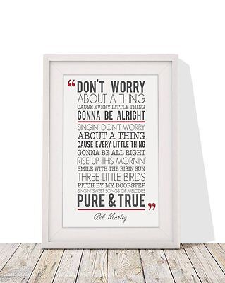 Bob Marley Don't Worry About A Thing Three Song Lyrics Framed With Mount 12 X 10 • 6.99£