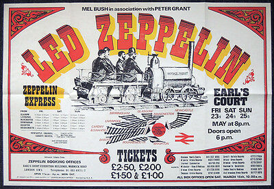 Led Zeppelin Repro 1975 London Earls Court 23-25 May Concert Poster . 84 X 58 Cm • 19.99£